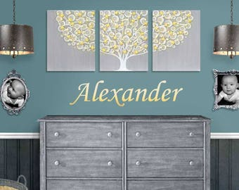Gray and Yellow Nursery Wall Art, Large Canvas Painting Triptych of Textured Tree - 50x20