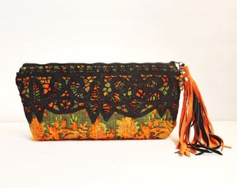 Orange Black Leather Fringe zipper pouch . Bohemian Boho Chic bag . Vagabond Winds Keepsake Clutch