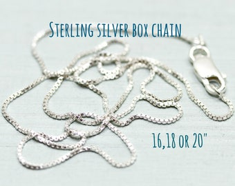 Sterling silver necklace chain - Sterling silver box chain - 16, 18, 20 inches - sterling silver jewelry 925 - Sea and Cake jewelry