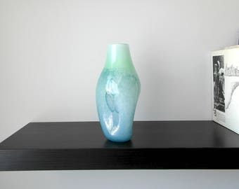 Handblown Glass vase in Soft Green, Pale light blue and Rich Navy Blue, Housewarming gift, Wedding gift, Retirement Gift