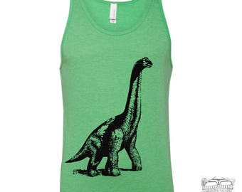 Unisex Tank Top DINOSAUR -  Tri Blend hand screen printed xs s m l xl xxl (+ Colors) Zen Threads