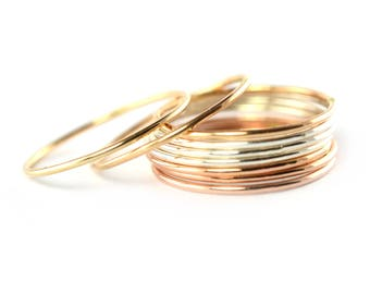 Skinny Ring Thread, Super Thin Stackable Ring, Gold Silver Rose Gold