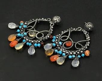 Mexican Fire Opal Earrings, Luxury Gemstone Chandelier Earrings Turquoise Hoop Earrings Oxidized Coiled Silver, Statement Bohemian Jewelry