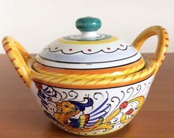 Vintage Deruta Raffaellesco Dragons, Sugar Bowl, Dipinto a mano, Small Covered Condiment Jar, Honey Pot, Jelly Bowl, Italian Pottery