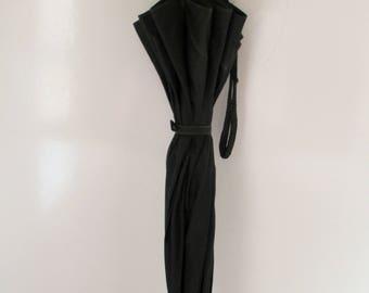 Vintage Umbrella Parasol Carved Lucite Handle Black Wedding Accessory