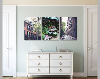 boston print set boston beacon hill set of 3 prints historic boston in spring bedroom decor entryway decor home decor large wall art