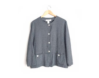 Size L // WINDOWPANE PATTERNED TOP // Long Sleeve - Button-Up Blouse - Pockets - Collarless - Minimalist - Monochrome - Vintage '90s.