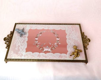 Vintage ornate brass dresser boudoir vanity tray, French lace, hand painted flowers + 2 adorable cherub figurines VALENTINE'S DAY!