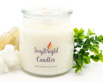 Tobacco and Bay Leaf SoyBright™ Natural Soy Wax Apothecary Jar Candle | Wooden Wick | Scented | Hand Poured | More Scents Available - 16 oz