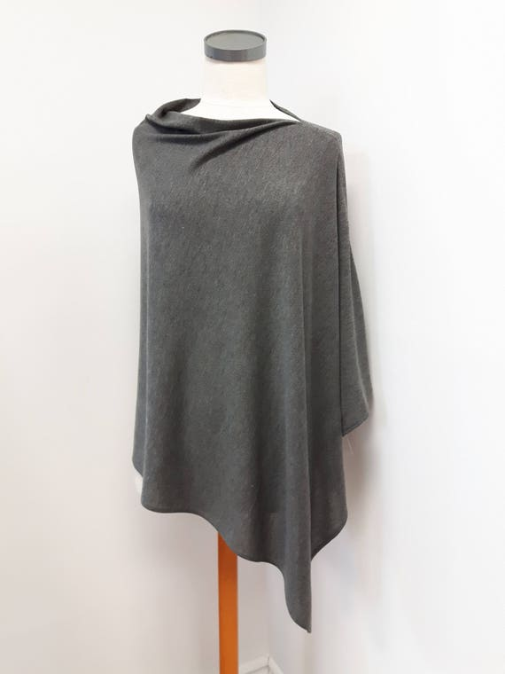 Women clothing, long elegant poncho, textured knit, gray, blue, red, one size