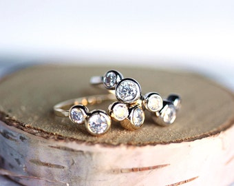 Stackable Bubble CZ Adjustable Ring Gold or Silver,Gift for her,Gift for wife, Gift for daughter,Cubic Zirconia,Handcrafted jewelry by MKY
