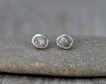 Raw Diamond Earring Studs, Total 1.80ct Diamonds, Gray Diamond Wedding Gift, April Birthstone Gift, Handmade In England