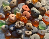Beach Stones & Sea Glass Beads, Colorful Earthy Autumn Fall Mix, 55 Small Tiny Drilled Beach Beads From Lake Erie