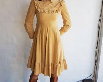 Vintage Caramel Velveteen Dress, XS