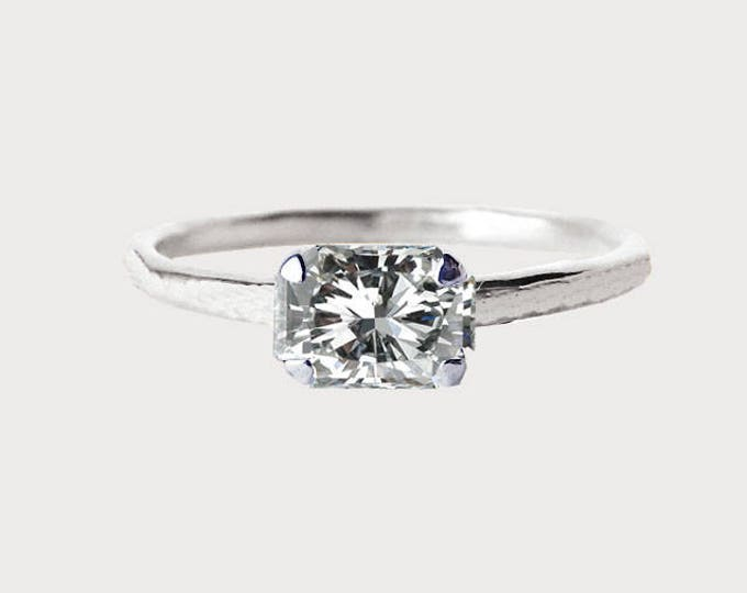 Forever Yours_ 14K White Gold Radiant Diamond Engagement Ring