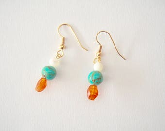 Carnelian, Mother of Pearl & Turquoise Earrings with Plated Metal Hoop in Gold, Clip On/Hooks/Studs, Talisman, Amulet, Good Luck Charm, Hope