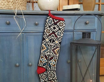 Jacquard Knit Christmas Stocking, Hand Knitted Christmas Stockings, FairTrade Christmas Stocking, Handmade Christmas Stocking, xmas Stocking