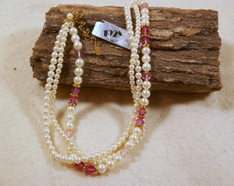 "Vintage ""1928 Jewelry Co."" Faux Pearl/Rose Adjustable Choker, 1960s, Unused with Orig Tags, Costume, Estate, Dress Up and Fun Necklace"