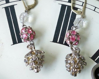 Vintage assemblage earrings - Pink rhinestones - pinecone charm - Crystal rosary beads - Recycle jewelry - One of a Kind - bycat
