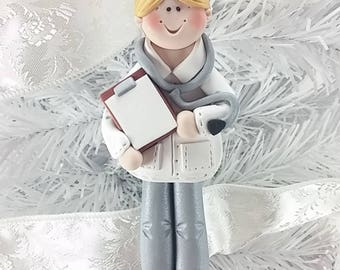 Polymer Clay Doctor Christmas Ornament - Physician Ornament - Gift for Doctor - Physician's Assistant Ornament - MD Ornament -747