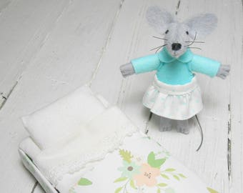 Mouse in bed stocking stuffer felt plushies aquamarine felt dolls animal in matchbox stocking stuffer boho nursery decor