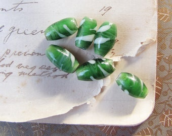 vintage lampwork beads in leafy green with white spiral stripes - large hole - circa 1950s - 6 beads