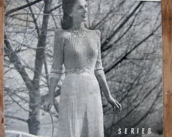 vintage knitting pattern book - Sunglo knitted dresses - 1940s fashion
