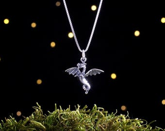 Sterling Silver Dragon - Small - (Charm, Necklace, or Earrings)
