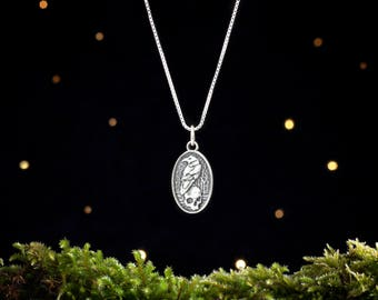 Sterling Silver Raven and Skull - Small - (Charm Only or Necklace)