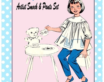 Vintage 1950s-ARTIST SMOCK TOPS-Sewing pattern-Three Styles-Rick-Rack-Lace Trims-Applique-Loose Fitting-Capri and Long  Pants-Size 2-Rare