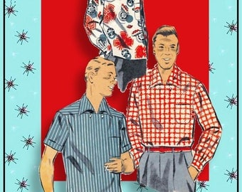 Vintage 1955-STYLIZED ROCKABIILY SHIRT-Sewing Pattern-3 Styles-Unique Design Details-Wing Collar-Pocket-Long-Short Sleeves-Size Small-Rare