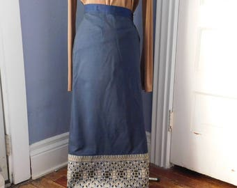 Vintage Hand-Embroidered Wrap-Around Calf-Length Skirt - Boho Folk Art Clothing - Navy-Blue w/ Exquisite Gold Geometric Embroidered Hem