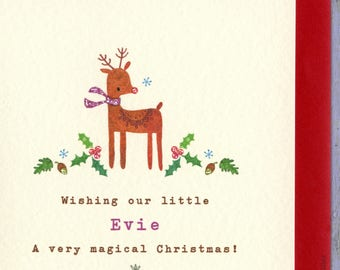 Baby's First Christmas, First Christmas Card, First Christmas Baby, Personalized Christmas Card, Reindeer Card, Christmas cards for kids
