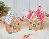Gingerbread  House treat boxes instant download DIY foldable paper Holiday house shaped box for Christmas candy, cookies, small toys etc