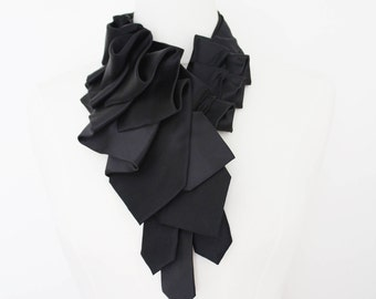Lapel Necktie Ruffle Ascot - Tuxedo Satin Black