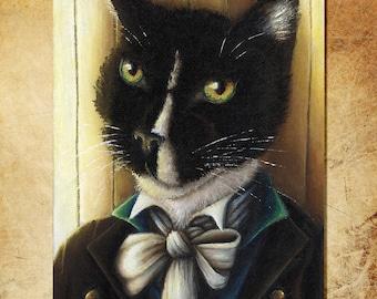 Mr Darcy Tuxedo Cat Art, Pride and Prejudice 8x10 Art Print