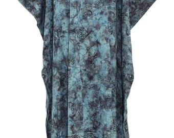 Dark Blue Batik Caftan Kaftan Maxi Long Dress 1X 2X 3X 4X