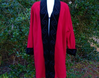 80s Red Wool Swing Coat size Large Xlarge Plus Velvet Collar Cuffs Soutache Roamans 50s Style Union Made USA
