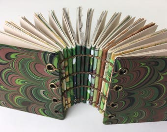 Small green marbled art journal, Coptic stitched journal with fine art papers, super-fat tiny journal