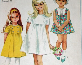 "Vintage 1960s Sewing Pattern, Simplicity 7615, Child's Dress, Child's Size 4, Breast 23"", Estate Sale Find"
