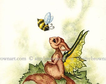 5x7 fairy squirrel and bee PRINT by Amy Brown