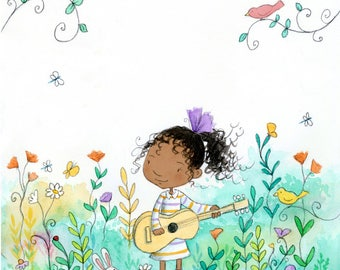 Musical Garden - Black Girl with Curly Hair Playing Guitar - Art Print