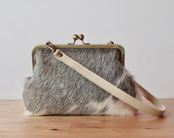 Gray Cowhide Clutch with strap