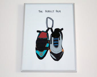 Climbing Shoes Print   A4   The Perfect Pair   Personalise   Climbers   Rock Climbing   Gift