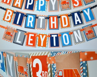Garbage Truck Birthday Party Banner Fully Assembled | Garbage Birthday Party | Truck Birthday | Garbage Truck Party | Orange Blue Truck
