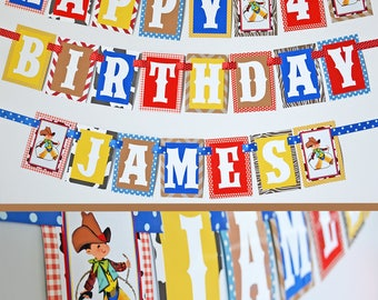 Cowboy Birthday Party Banner Decorations Fully Assembled |Western Birthday Party | Rodeo Party | Vintage Western | Vintage Cowboy Party |
