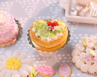 Heart-Shaped Cream Tart Decorated with Strawberries, Raspberry and Pistachio - Miniature Food in 12th Scale for Dollhouse