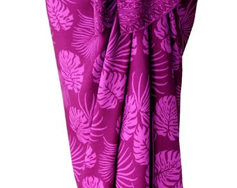 Hawaiian Beach Sarong Batik Pareo Women's or Men's Clothing Beach Wrap Skirt Swimsuit Coverup Magenta Tropical Jungle Leaf Pareo ~ Lavalava
