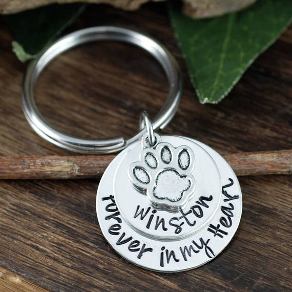 Pet Memorial Keychain, Forever In My Heart, Memorial Jewelry, Personalized Pet Jewelry, Dog Jewelry, Pet Keychain, Dog Paw Keychain