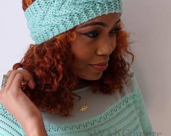 Chevron Headband Wrap, Knit Ear Warmer, Chunky cable Headband, Handmade Earwarmer Mint or CHOOSE Color